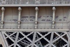 Noms commémorés par Tour Eiffel images libres de droits