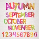 Noms d'aquarelle de vecteur de saison d'automne illustration libre de droits