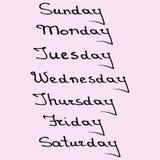 Noms de Callygraphic des jours de la semaine Images stock