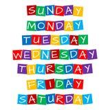Noms de jour de la semaine réglés illustration de vecteur