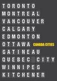 Noms des villes canadiennes sur le volet jumelé Flip Board Display Photographie stock libre de droits