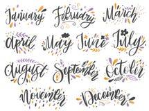 Noms manuscrits des mois : Décembre, janvier, février, mars, avril, mai, juin, juillet, août, septembre, octobre, novembre illustration libre de droits