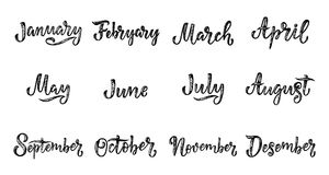 Noms manuscrits des mois décembre, janvier, février, mars, avril, mai, juin, juillet, août, septembre, octobre, novembre Appel Images libres de droits