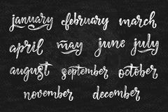 Noms manuscrits des mois décembre, janvier, février, mars, avril, mai, juin, juillet, août, septembre, octobre, novembre Appel Image libre de droits