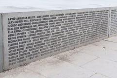 Noms sur la ligne cassée monument Photo stock