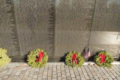 Noms sur les combattants de Vietnam commémoratifs dans le Washington DC, Etats-Unis Images libres de droits