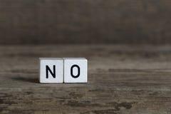 Non, écrit en cubes Photographie stock