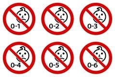 Non adatto a simbolo dei bambini Testa semplice del bambino che assorbe cerchio attraversato rosso Versione per le età 1 - 6 royalty illustrazione gratis