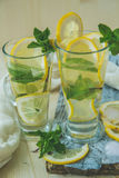Non-alcoholic or alcoholic Mojito Cocktail with lemon and mint Stock Photo