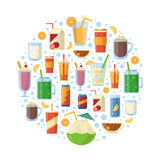 Non alcoholic drinks in circle shape. Vector illustration Stock Photography