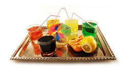 Non-alcoholic drinks on a tray Royalty Free Stock Photos