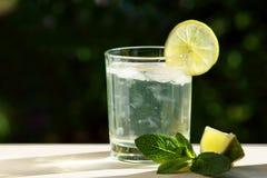 Non-alcoholic mojito with lime slice stock photos