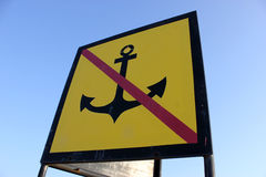 Non-anchor. No anchorage sign on background of blue sky Stock Photo