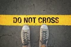 Non attraversi la linea Fotografie Stock Libere da Diritti