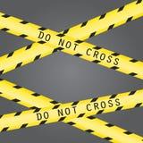 Non attraversi la linea nastro di cautela Fotografia Stock Libera da Diritti