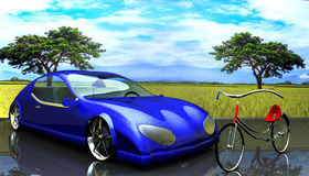 Non-branded generic concept car and bike Royalty Free Stock Photos