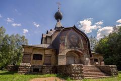 Non-canonical Temple of the spirit 1905 in the estate Talashkino in the Smolensk region. View of The Non-canonical Temple of the spirit 1905 in the estate royalty free stock photos