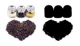Non-dairy creamer, sugar and beans Coffee, isolated. And Black Picture for die-cut Royalty Free Stock Image