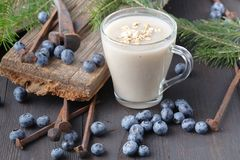 Non-dairy vegan oat milk with berries, healthy diet Royalty Free Stock Photo