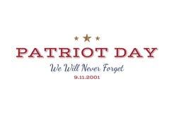 Non dimenticheremo mai Patriota giorno 11 settembre Tipografia 2001 su un fondo bianco Combinazione della fonte di vettore al gio Immagine Stock