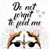 Non dimentichi di alimentarmi il segno con il gatto sorridente sveglio illustrazione di stock