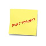 Non dimentichi la nota gialla 2 Fotografie Stock