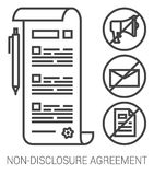 Non-disclosure agreement line infographic. Royalty Free Stock Photo