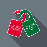 Non disturbi e non pulisca l'icona dei ganci di porta Fotografie Stock Libere da Diritti