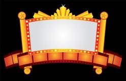 Néon do cinema do ouro Fotografia de Stock