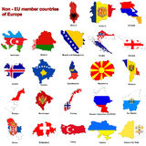 Non - EU Countries Flag Maps Stock Photos