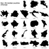 Non EU european countries silhouettes. Silhouettes of all the non EU member european countries Royalty Free Stock Photo