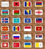 Non - EU member countries flags Stock Photography