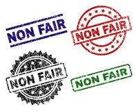 Scratched Textured NON FAIR Stamp Seals. NON FAIR seal prints with distress texture. Black, green,red,blue vector rubber prints of NON FAIR text with dust vector illustration