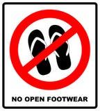 Non firmi sandali Nessun'icona rossa dell'aereo di proibizione della pantofola su fondo bianco Flip-flop di divieto Illustrazione royalty illustrazione gratis