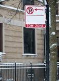 Non firmi zona di rimorchio di parcheggio Fotografie Stock