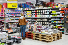 Non-food department. MALMEDY, BELGIUM - JULY 2015: Customer in the Household appliances section of a Carrefour Hypermarket, a French multinational retailer, and Royalty Free Stock Photo