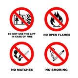 Non fumatori, nessuna fiamma aperta, nessun partite, nessun ascensore Immagini Stock