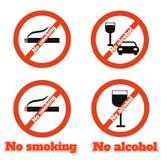 Non-fumeurs aucun alcool Photographie stock