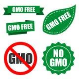 Non genetiskt ändrad organismlogo för förpackande design Gmo stock illustrationer