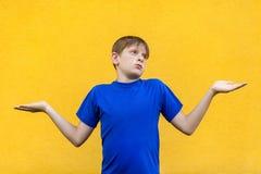 Non so Giovane ragazzo freckled confuso immagini stock libere da diritti