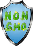 Non GMO or GMO free labels logos to indicate non genetically modified foods or on organic product packaging. Royalty Free Stock Image