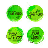 Non GMO or GMO Free Stickers set. Non GMO or GMO Free Stickers set, Natural Organic Products Labels, Green Tags design, Hand drawn lettering collection Stock Photos