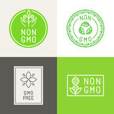 Non gmo  natural ingridients labels and emblems Royalty Free Stock Photo