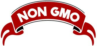 NON GMO on red band. Royalty Free Stock Images