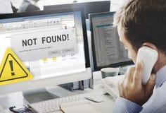 Non ha trovato il concetto d'avvertimento di problema di guasto dei 404 errori Fotografia Stock