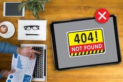 Non ha trovato il problema d'avvertimento di guasto dei 404 errori Fotografia Stock Libera da Diritti