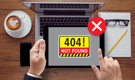 Non ha trovato il problema d'avvertimento di guasto dei 404 errori Fotografie Stock