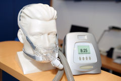 Non-invasive ventilatory support for disease sleep apnea. Non-invasive ventilatory support, CPAP continuous positive airway pressure support, for disease sleep royalty free stock images