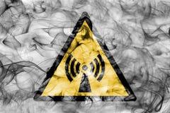 Non ionising electromagnetic radiation hazard warning smoke sign. Triangular warning hazard sign, smoke background. Non ionising electromagnetic radiation vector illustration