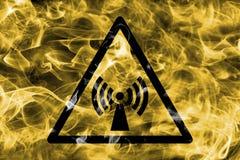 Non ionizing electromagnetic radiation hazard warning smoke sign. Triangular warning hazard sign, smoke background. Non ionizing electromagnetic radiation vector illustration
